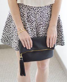leopard skirt + black clutch + gold #summerstyle