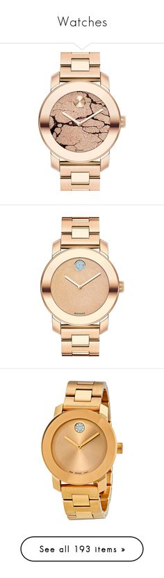 """""""Watches"""" by alexandra2707 ❤ liked on Polyvore featuring jewelry, watches, accessories, bracelets, rose gold, dial watches, stainless steel wrist watch, swiss quartz watches, movado and stainless steel jewelry"""