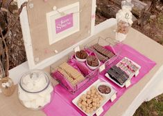 S'more bar! SUCH a cute idea for a bon fire get together for the wedding party!