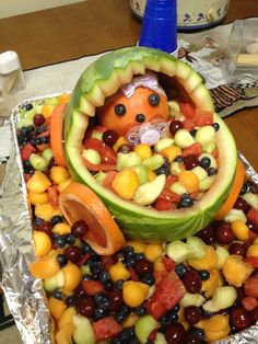 Baby girl watermelon carriage. Perfect fruit bowl for shower!