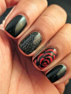 Black and Red Rose Nail Design