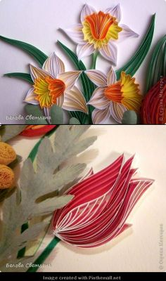 Paper Filigree Art - Quilling - Spring Cards with Bees and Flowers - by: Francine Jones - http://quillcentre.blogspot.com/