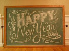 Happy New Year Chalk Sign