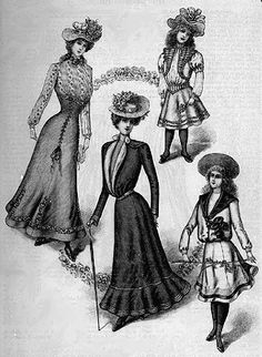 "The women's clothing during this period becomes more tailored and fitted with a jacket like bodice resembling a masculine touch. After the 1900 the silhouette transformed into a more ""S"" curved shape."