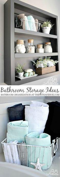 Bathroom Storage and Organization Ideas at the36thavenue.com #cleaning #bathroom