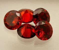 32.16 CT Red Cubic Zircon Fantabulous AA+ Quality Round Shaped 5pcs Gem For Ring #AstroKapoor