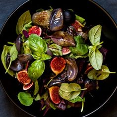 Fig salad Keep it all in the hue of dark reds with splashes of fresh bright green.