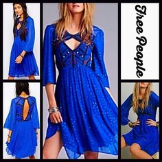 🔅6/24 HOST PICK 🔅 Embellished Boho Chiffon Dress FREE PEOPLE Embellished Boho Chiffon Dress * Fit-and-flare style, 3/4 length bell sleeves, rounded hem, & button neck * Cutout front & back details * Lightweight & Lined skirt. NWOT firm price. Free People Dresses Backless