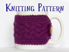 Instant Download PDF Knitting Pattern - Cabled Cup Cozy, Braid Cable Coffee Cup Cover, Mug Cozy Instructions, Cup Sleeve