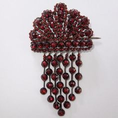 RARE-ANTIQUE-GEORGIAN-OR-VICTORIAN-GOLD-OVER-SILVER-GENUINE-BOHEMIAN-GARNET-PIN