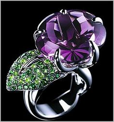 Chanel | Amethyst and Tsavorite ring... love, love, love this ring
