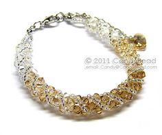 Swarovski bracelet, Light brown shade twisty Swarovski Crystal Bracelet by CandyBead on Etsy, $15.00