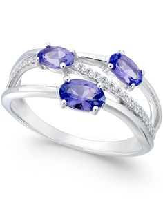 Tanzanite (3/4 ct. t.w.) and Diamond (1/8 ct. t.w.) Ring in 14k White Gold - All Fine Jewelry - Jewelry & Watches - Macy's
