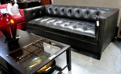 Button tufted seat & back Charcoal Leather