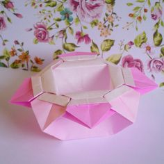 May 10th 2015 Origami basket I made yesterday. Inspired by @tadashimori #origami #basket #pink #paper #folding #diy #craft #handmade #130