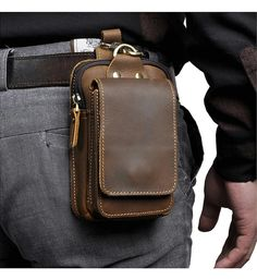 Real Leather, Leather Men, Leather Cell Phone Cases, Cowhide Bag, Leather Belt Bag, Leather Case, Hip Bag, Leather Pattern, Waist Pack