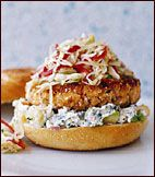 Pan-Fried Salmon Burgers with Cabbage Slaw and Avocado Aioli Recipe on Food & Wine