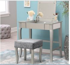 Mirrored Vanity Table Set Desk Stool Makeup Bedroom Grey Teen Bathrm Modern NEW | Home & Garden, Furniture, Vanities & Makeup Tables | eBay!