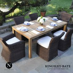 Perfect arrangement for your backyard. Kingsley Bate: Elegant outdoor furniture -SagHarbor Side Chairs -SagHarbor Arm Chairs -Weinscott Dinning Table