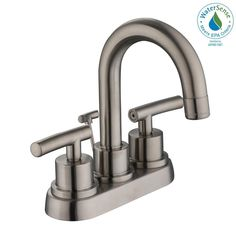 Bathroom #1 - Glacier Bay Dorset 4 in. Centerset 2-Handle High-Arc Bathroom Faucet in Brushed Nickel