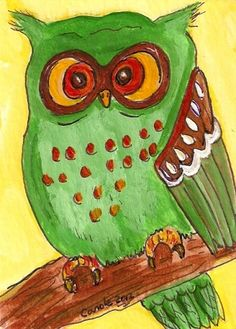 ACEO Original Green Owl Cute birds Folk от LadybugArtStudio