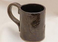 Stoneware Large Coffee MUG GINGKO Design in Brown by LisaMelitaArt, $22.50