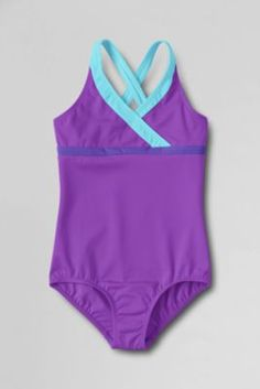 Girls' Smart Swim Colorblock One Piece Swimsuit from Lands' End