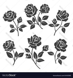 Rose silhouettes vector illustration. Black buds and stems of roses stencils isolated on white background. Download a Free Preview or High Quality Adobe Illustrator Ai, EPS, PDF and High Resolution JPEG versions.