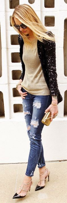 Black Holiday Remix Sequin Blazer, perfect for this fall