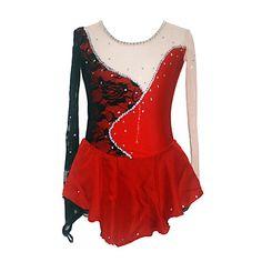 Girl's High Spandex Figure Skating Dress (Black + Red) – USD $ 149.99