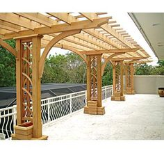 Cantilevered Deck Pergola using dual posts. This is great as is yet is also a marvelous idea to repair a wobbly fence or for a fence.  - VitalBodies