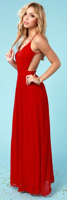Wine Red Backless Maxi