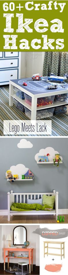 60  Crafty Ikea Hacks To Help You Save Time And Money! Lego table/storage and the padded storage cubes for playroom are great ideas!