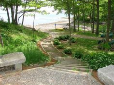 beachstairs at campground in searsport