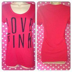 NEW S Victoria's Secret PINK T-Shirt red black love pink logo short sleeve NWT