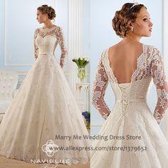 Vestido de noiva renda Ivory Lace Wedding Dresses Plus Size Princess Long Sleeve Bridal Gown Winter Corset Back MA089