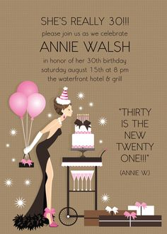This stylish invitation features a girl holiday a bouquet of balloons blowing out the candles on her birthday cake.