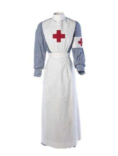 First World War volunteer nurse's uniform. Worn by Kathleen Falls who initially worked as a nurse at Torbay Hospital and subsequently studied for a qualification in pharmacy, receiving her certificate in 1917. - Museum of London