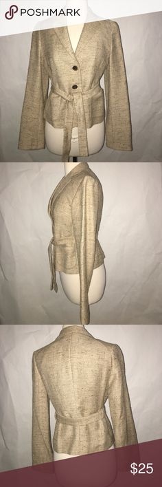 VINTAGE BANANA REPUBLIC BLASER/BLOUSE Vintage Banana Reupublic blaser/blouse size S.  51% linen, 23% Rayon, 14 % wool and 10 % silk  Gorgeous tan tweed. Lined two pockets, two buttons,  Narrow lapels and belt. Great condition. Banana Republic Jackets & Coats Blazers