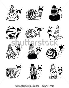 Vector Illustration of snails with different shells on a white background