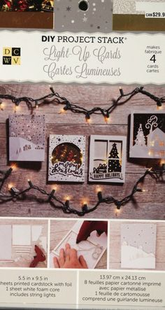 "This DCWV DIY Project Stack Light-Up Cards Kit contains (8) 5.50"" x 9.50"" printed cardstock sheets with foil, 1 sheet white foam core, twine, reusable embellishment sleeve, full directions and string"