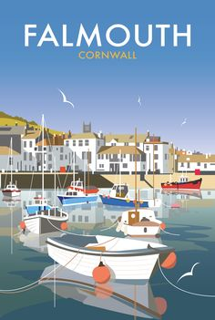 Falmouth in Cornwall Vintage Travel Poster Retro Poster, Posters Uk, Railway Posters, Vintage Travel Posters, Illustrations And Posters, Beach Posters, British Travel, British Seaside, American History