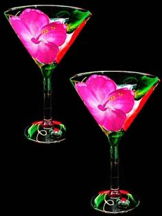 Cute and fun handpainted martini glasses.....Hibiscus Martini Glasses-10oz.