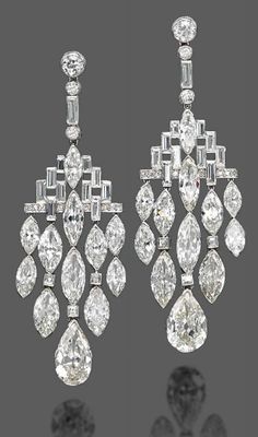 Bulgari Art Deco Diamond Ear Pendants - 1920's - Christie's - @~ Mlle
