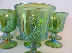 INDIANA GLASS CARNIVAL Glass Lime Green by HickoryTreeAntiques