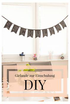 DIY Girlande zur Einschulung aus Tafelstoff