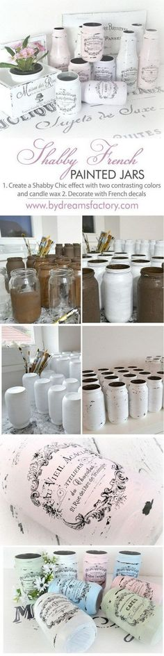 16 Shabby French Painted Jars