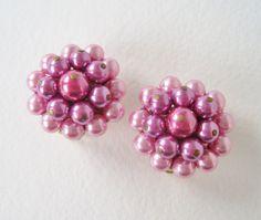 Vintage 60s Retro Hollywood Regency Signed Japan Metallic Pink Faux Pearl Cluster Earrings by ThePaisleyUnicorn, $6.00