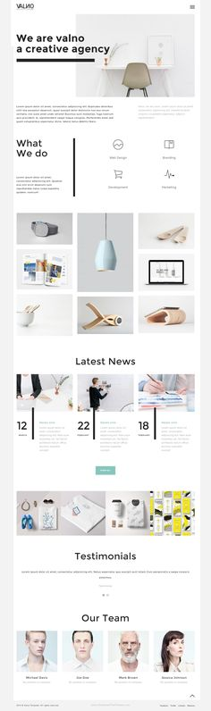 Valno is a fully responsive & Bootstrap template designed with a and clean design. This template is perfect for… Blog Layout, Portfolio Layout, Website Layout, Web Layout, Portfolio Design, Webdesign Inspiration, Website Design Inspiration, Layout Inspiration, Ux Design