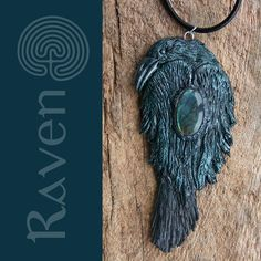 Huge Raven or Crow Pendant Necklace with black kyanite and labradorite by SilverLabyrinth on Etsy